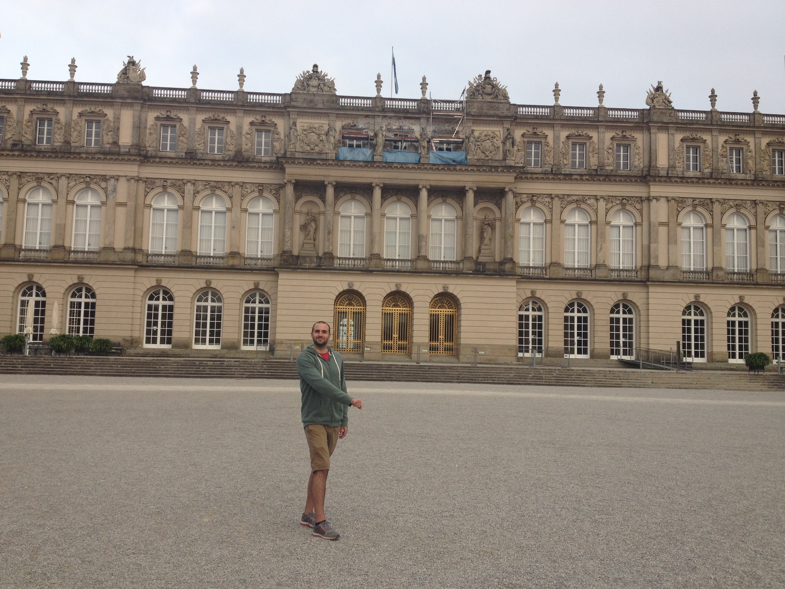 The Villain perfecting his 'king pose' at a palace outside of Munich
