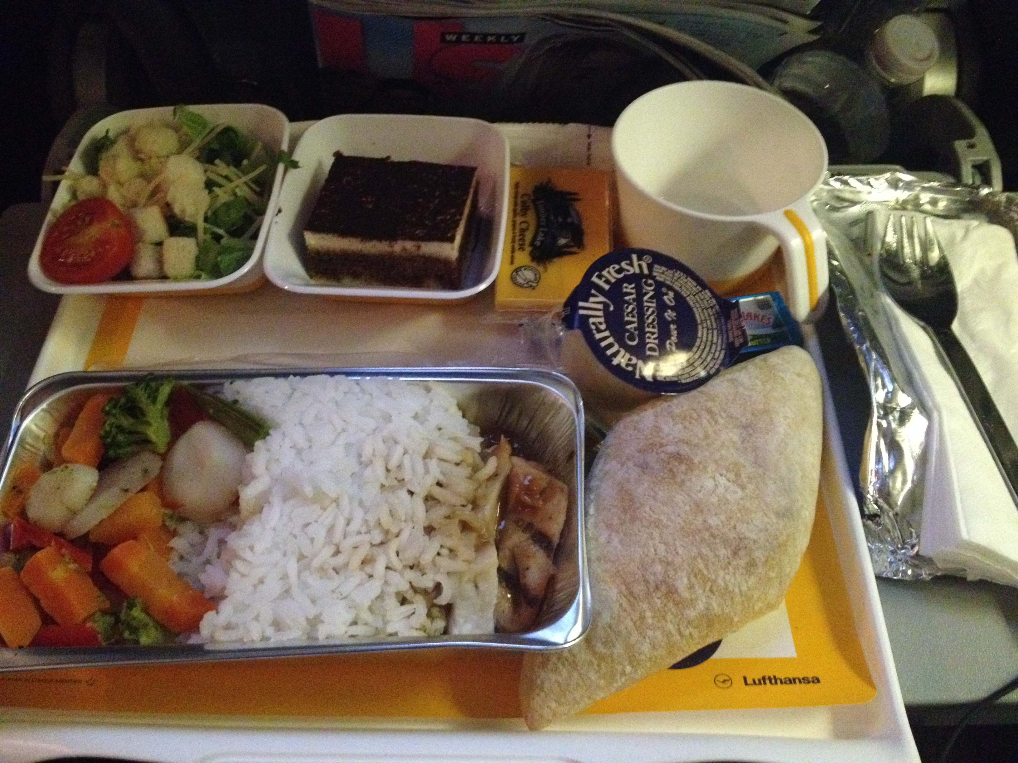dinner in Lufthansa economy class