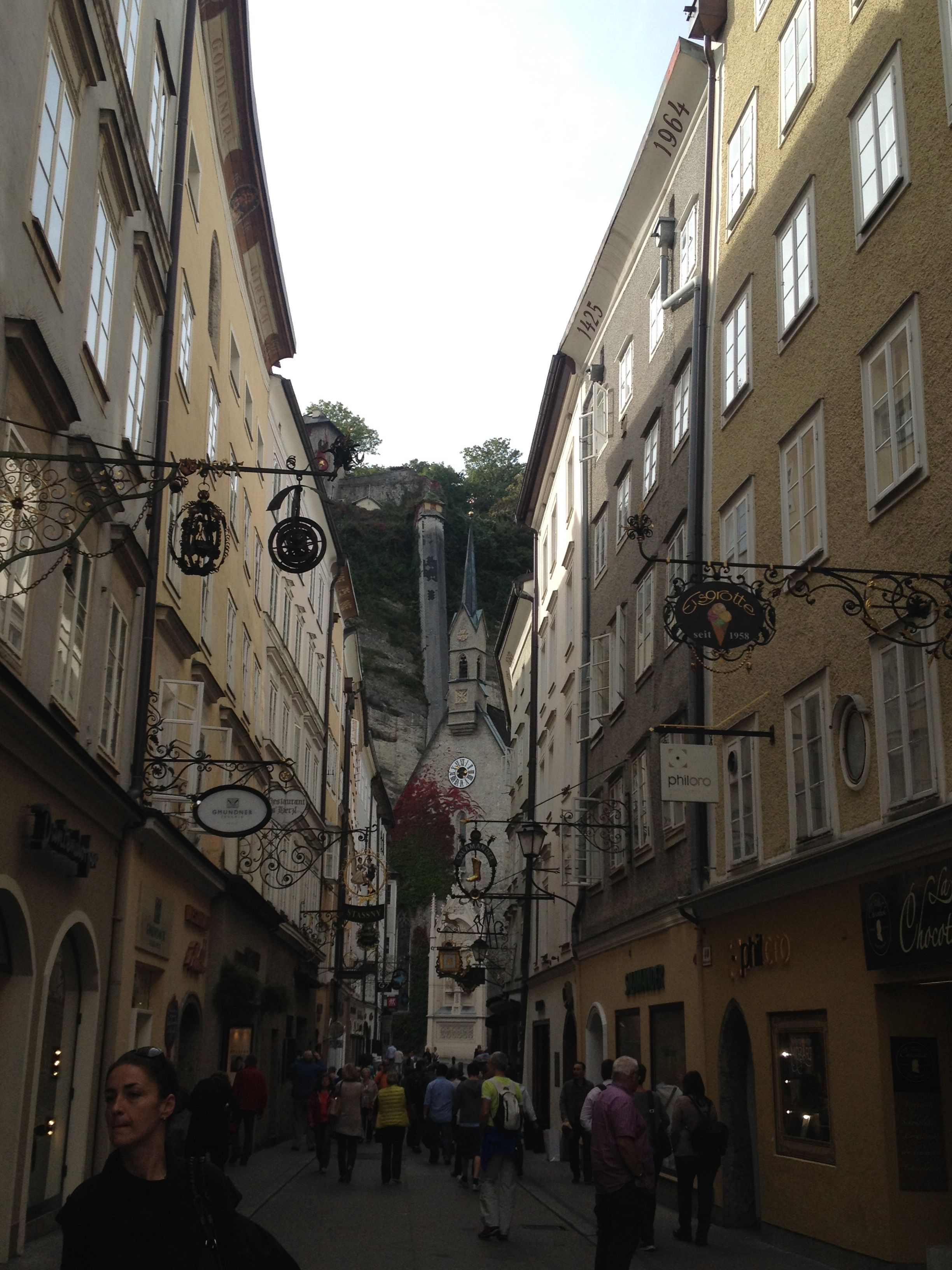 The back door of the hotel opens to a small alley that leads to the Getreidegasse alley, a famous shopping area.